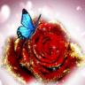 Blue Butterfly On Glitter Rose Live Wallpaper
