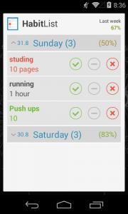 Habit list