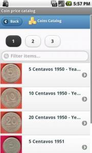 Coin price catalog