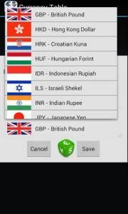 Currency Table