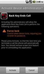 Back Key Ends Call