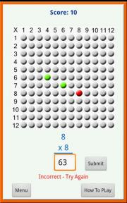 Math Multiplication Table Game