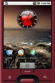 Red Apple Logo Widget Clock
